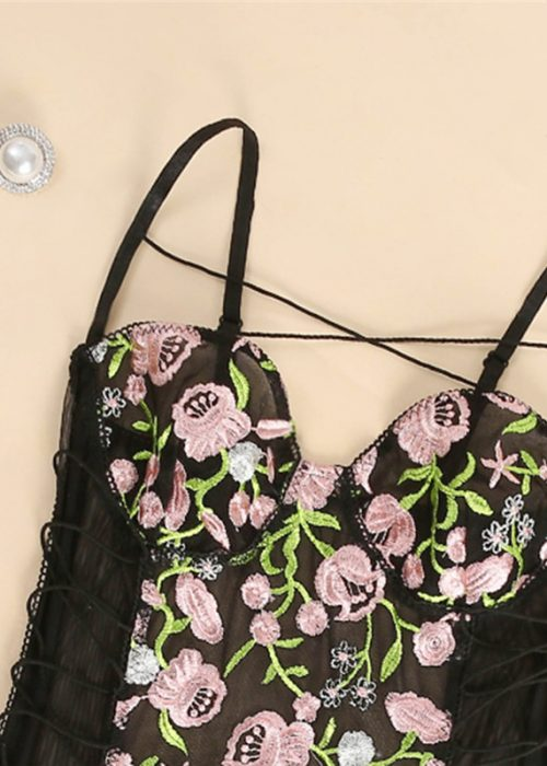 Body negru sexy cu imprimeu floral, reglabil, marimi S/M, cod produs: 59