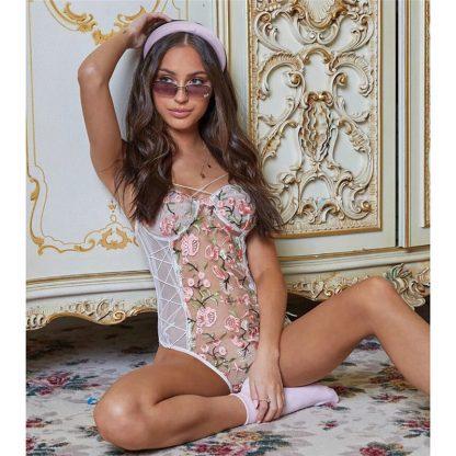 Body alb sexy cu imprimeu floral, reglabil, marimi S/M, cod produs: 58