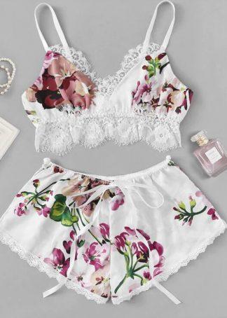 Set pijamale: boxeri si sutien alb cu dantela, marimi S/M, cod produs: 81
