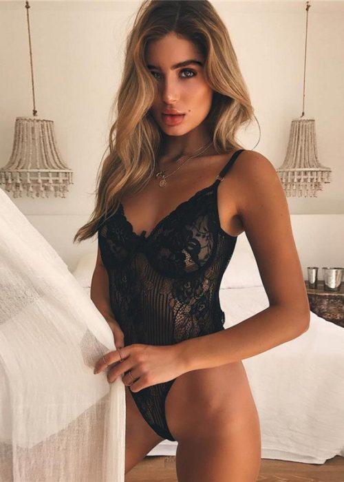 Body sexy negru din dantela, marime S/M/L, cod produs: 55