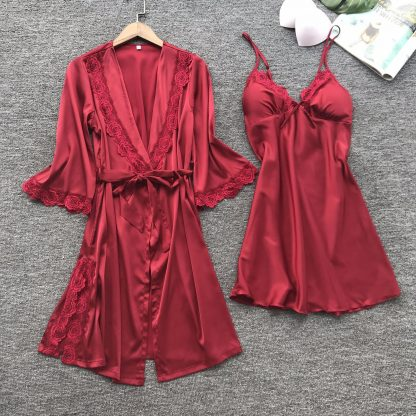 Set halat si rochita de noapte rosie, marimi S/M, cod produs: 68