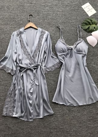 Set halat si rochita de noapte gri, marimi S/M, cod produs: 69