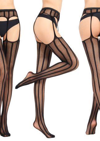 Ciorapi negri sexy cu portjartier model Caty, marime universala, cod produs: D08